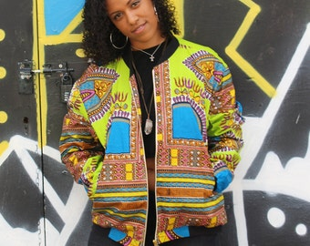 African Bomber Jacket - Winter Jacket - Dashiki Jacket - African Wax Print - African Clothing - Festival Clothing - Festival Jacket