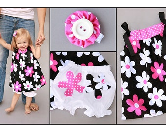 Baby Girl Pillowcase Dress and Bloomer and Hair Clip Set Plain Jane Fabric
