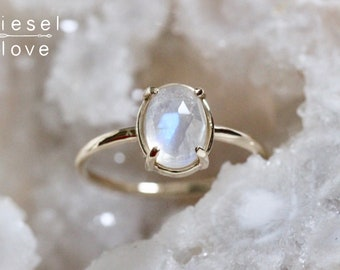 "14K Moonstone Ring, ""Prism"" Ring, Rainbow Moonstone, Statement Ring, Solid Gold, Protection, Aura, Energy, Dainty Jewelry, Solitaire Ring"