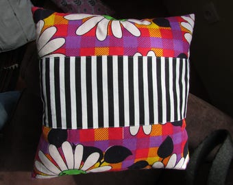 Pillows with vintage flowers and stripes!