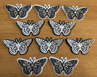 10 x Black and white 3d butterflies
