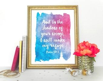 Scripture art, Christian wall decor poster, Inspirational, Psalm 57:1 - digital HOME DECOR