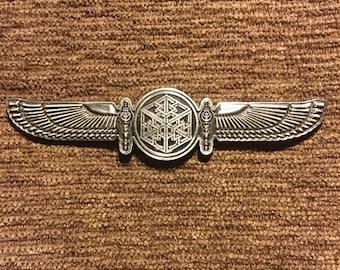 Bass wings sacred geometry hat pin