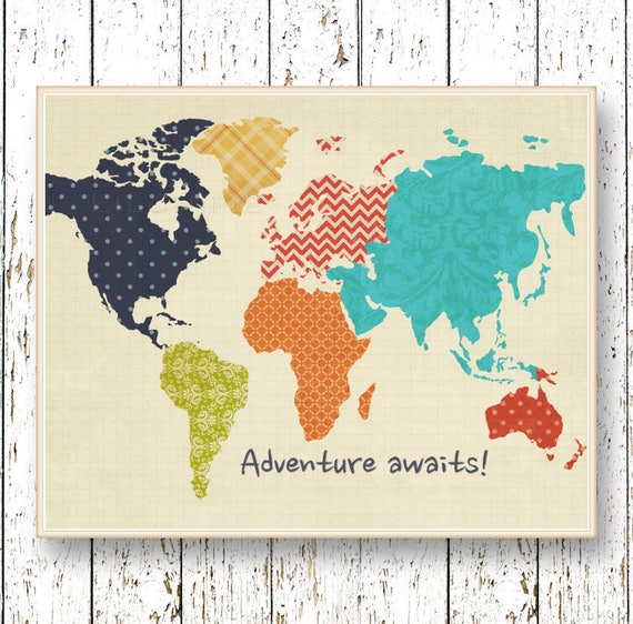 World map artwork adventure awaits family room playroom te gusta este artculo gumiabroncs Image collections