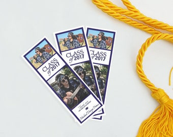 Graduation Bookmark Favors - Photo Bookmark Set - Personalized Bookmarks - Thank You Bookmarks