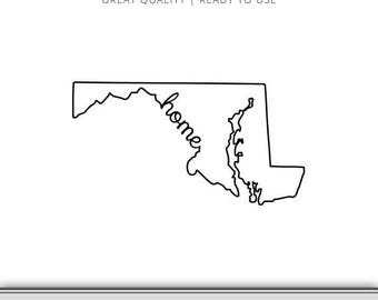 Maryland Home State Outline Graphic - Maryland SVG - Maryland Silhouette - Maryland State SVG - Digital Download - Ready to Use!