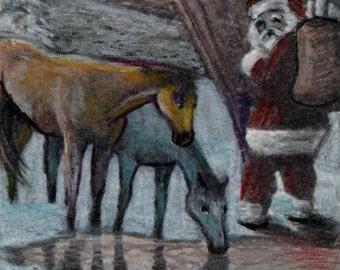 original art drawing color pencil aceo horses at the watering hole Santa Claus