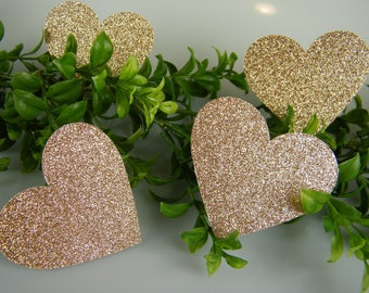 """Rose Gold party Decorations / Large Table Confetti / Rose Gold Glitter Heart 2-3/4"""" /Table Scatter / DIY Tags / Bridal Shower Birthday Party"""