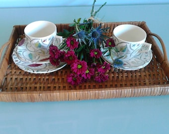 Midcentury modern rare Broadhurst & Sons china trio tea cup, saucer and side plate. Revel design by Kathy Winkle.