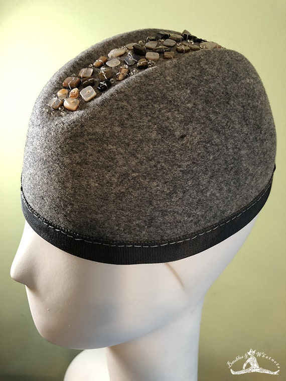 Gray Wool Beanie Hat - Mother of Pearl Stone Buttons - Grey Wool Hat - Gray Women's Hat - Gray Cloche Hat -  OOAK