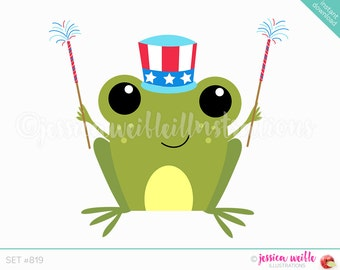 Instant Download, Frog with Sparklers Cute Digital Clipart, Patriotic Frog Clip art, July 4th Graphics, Patriotic Frog Illustration, #819