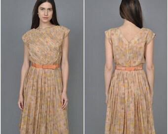 1950s R & K Orignals Abstract Print cotton dress   vintage 1950s dress   abstract print cotton dress