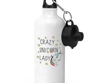 Crazy Unicorn Lady Sports Bottle