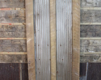 Reclaimed Pine Barn Wood and Antique Corrugated Metal Door, Made to Order, FREE SHIPPING