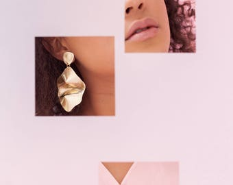 Statement gold leather cloud earrings