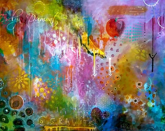 Gravity - Abstract multicolored canvas - Contemporary Art
