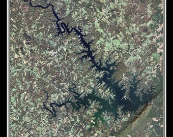 Smith Mountain Lake Virginia Satellite Poster Map