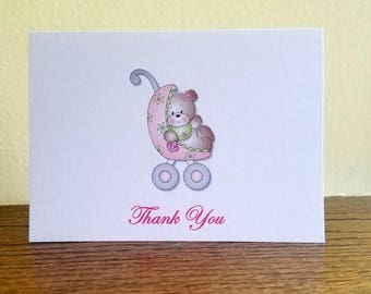 Baby Shower Thank You Cards, Bear Thank You Cards, Set of 10 Baby Shower Thank You Cards
