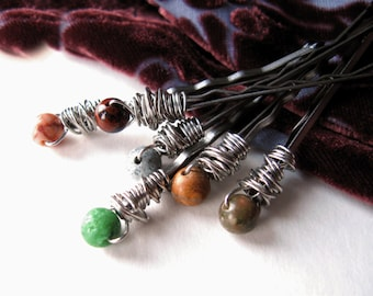 Choose Wire/Pin Colors-HAIR PINS-Gemstone Wire Wrapped, Bobby Pins, Marble, Zoisite, Obsidian, Jasper, Bohemian Hair Pins, Hair Jewelry