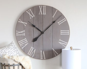 medium grey chalk paint large wall clock