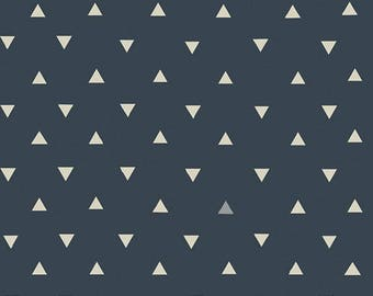 KNIT FABRIC Art Gallery Triangle Tokens Ink Metallic/Navy Triangles/Triangles