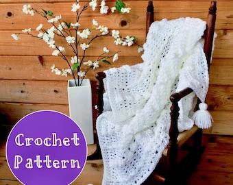 Instant Download Crochet Pattern ~ Receiving Blanket with Tassels ~one skein ~ Baby~ White ~ Easter ~ Christening ~ Baptism ~ Newborn Photo