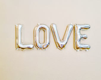 LOVE Silver Balloons, Love Gifts, Love Party Theme,Silver Letter Balloons,Bridal Shower Balloons,Silver Love Decorations, LOVE Balloons,Love