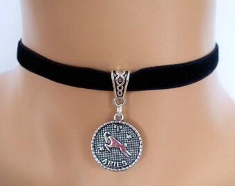velvet choker, aries choker, aries necklace, stretch ribbon, black velvet, zodiac