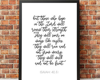 "Typography Poster ""But those who hope in the Lord will renew their"" Isaiah 40:31 Christian Scripture Bible Verse Wall Art Home Decor Print"