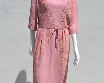 Vintage 60's PEGGY HUNT mid century Pink dress lace inserts VEGAN size 8 + by thekaliman
