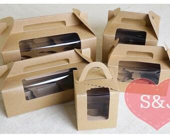 10x 3 holes holder Brown Kraft Gable Cardboard Boxes