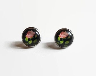Rose Studs, Rose Earrings, Pink Rose Earrings, Floral Print Studs, hypoallergenic studs, 12mm studs, stainless steel studs, Floral Jewelry
