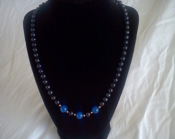 black pearl and sapphire necklace