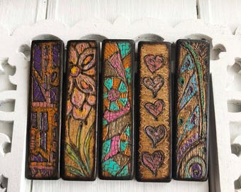 Natural Element Dyed/Painted Scrimshaw Woodburned JLynnJewels ART Tile© Matchstick Pendant