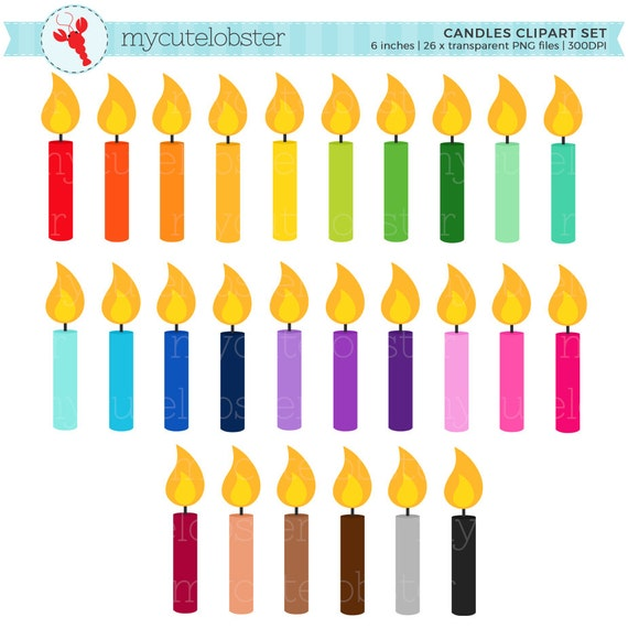 rainbow candles clipart set clip art set of candles rh etsy com candle clipart black and white candle clip art free images