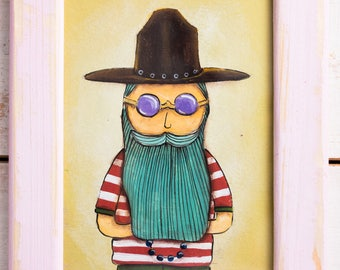 Original acrylic painting on canvas in wooden frame. Hipster with beard in wide hat and glasses painting.