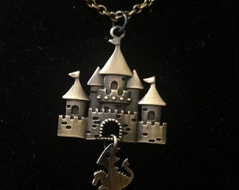 Castle and Dragon Necklace