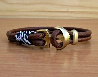 Anchor Mens Bracelet Mens Leather bracelet Cuff Nautical Rope Bracelet  Customized On Your Wrist
