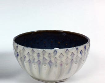 Drippy Purple Fish Scale Mermaid Bowl