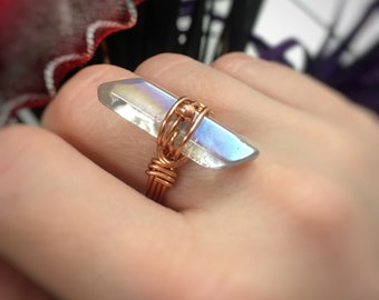 Aura quartz crystal ring, raw crystal ring, wire wrapped crystal ring