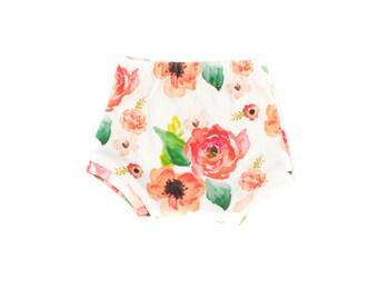 Floral Dreams Baby Shorts, Newborn Shorts, Toddler Pink Floral Shorts, Organic Baby Shorts, Modern Floral Shorts, Floral Girl Shorties
