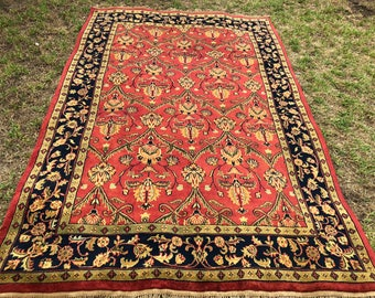 "Persian (Afshan) Design Indian Agra Rug, Hand-Knotted Overall  (Terracotta, Black, Green) 280cm x 180cm (9'1"" x 5'9"")"