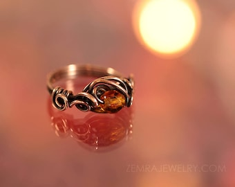 Enchanting Copper Wire Wrap Topaz Czech Glass Honey Ring Size 7 Copper Wire Wrap Loops November Birthstone Solitaire Ring