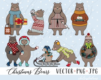 Christmas Clipart, Christmas Bears Clip Art Set, Vector Bear Clipart, Cute Bears, Holiday Woodland Animals, Commercial Use, Kawaii Sledding