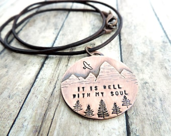 It Is Well With My Soul Mountain Necklace - Christian Necklace - Christian Jewelry - Inspirational Gift - Mountain Landscape
