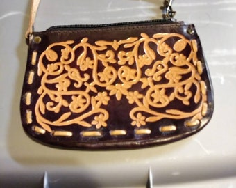 Vintage Hand Tooled Two Tone Leather Wristlet Coin Purse Removable Strap