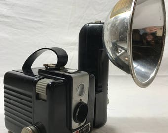 Mid Century Kodak Brownie Flash Model Camera - Flash Attachment Included - Displays Great!