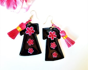 Earrings with cherry blossom Kimono