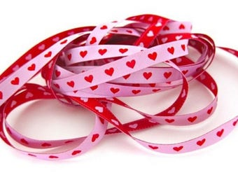 Red rose heart 7mm the meter farbenmix Ribbon Ribbon