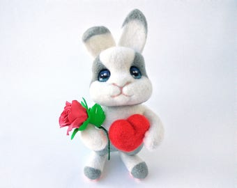 Needle felted valentines bunny, Needle felted animal Valentines day gift Gift for her Rabbit gifts Needle felt Bunny gifts Anniversary gifts